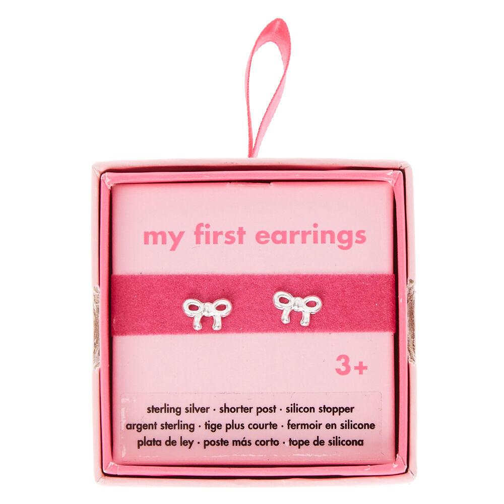 My First Earrings Silver Bow Stud Earrings