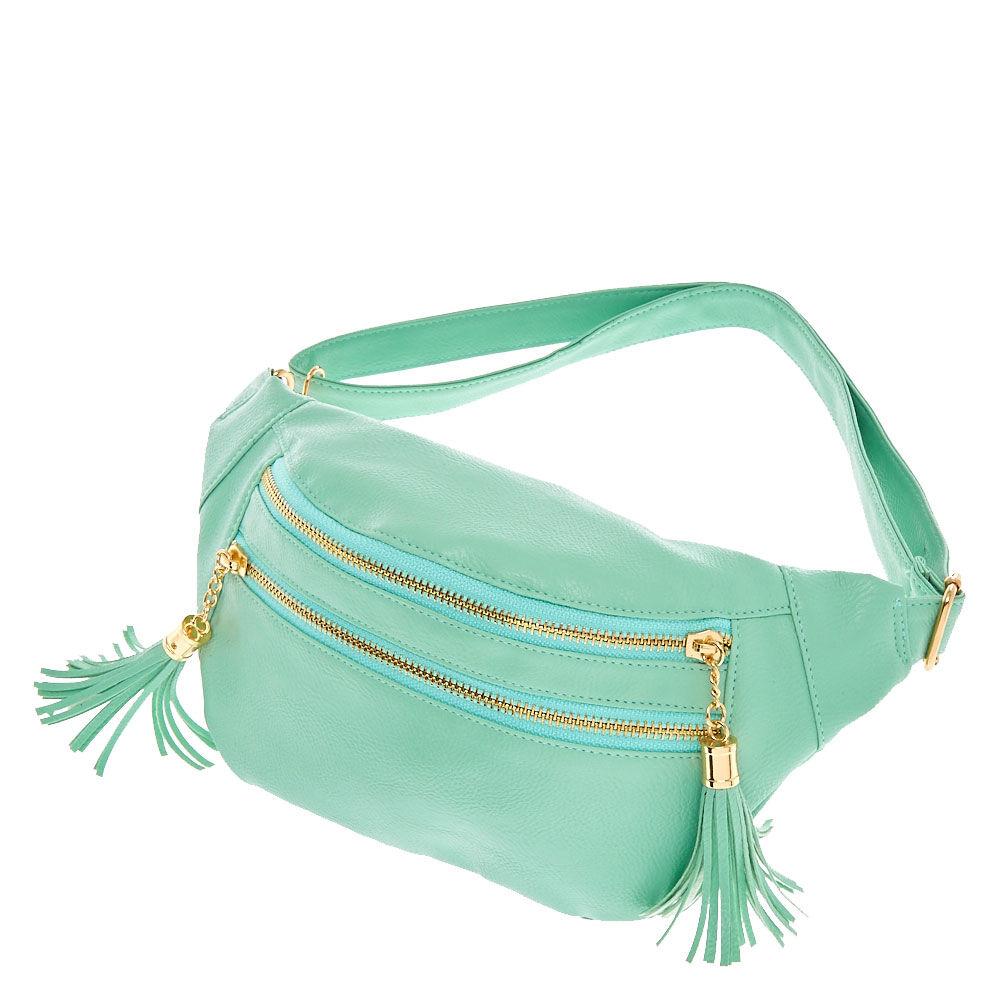 Mint Zip Front Tassel Faux Leather Fanny Pack