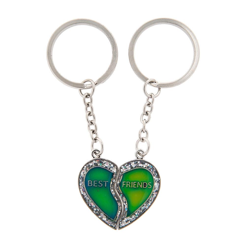 Best Friends Glitter Mood Half Heart Keychains