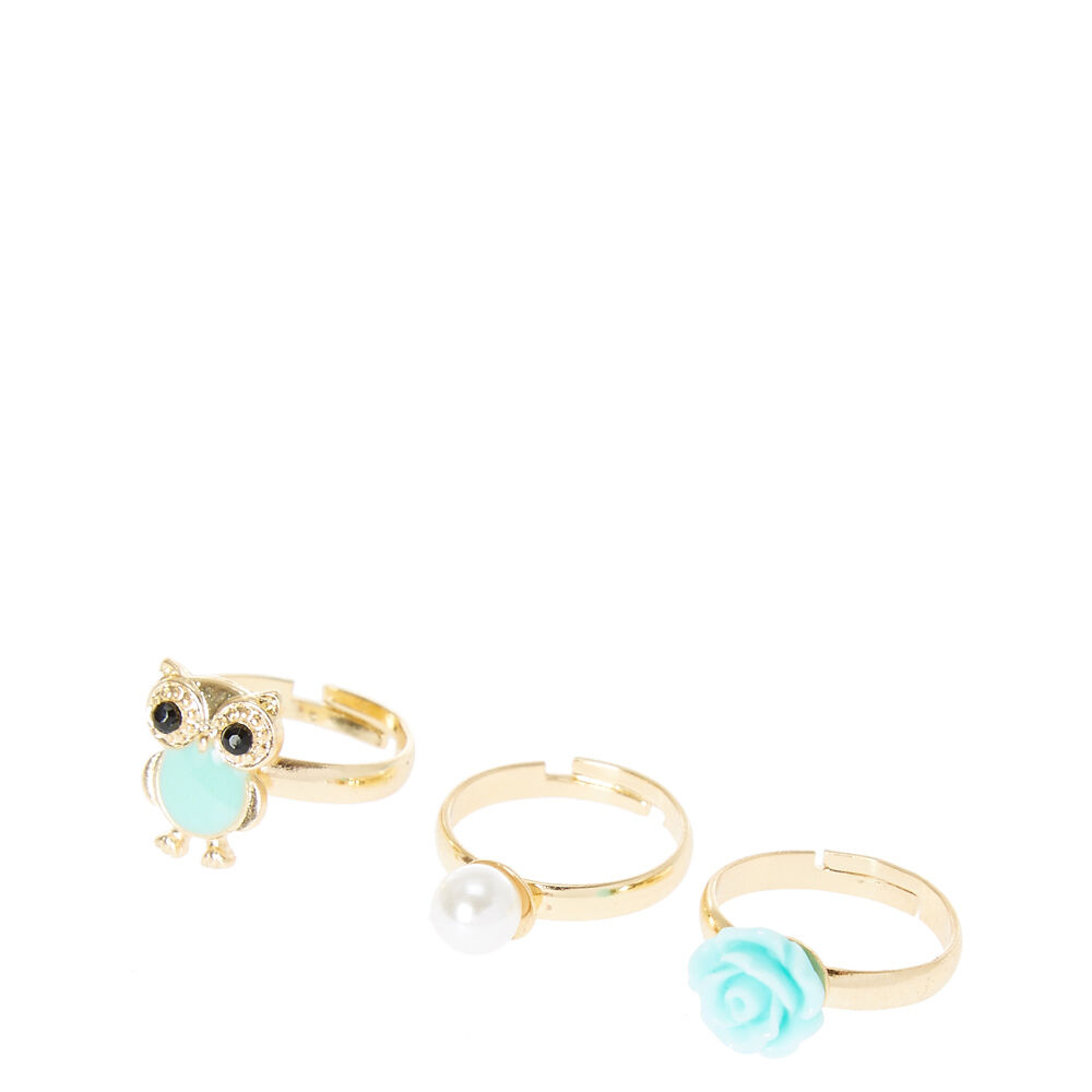 Gold and Mint Rose Owl Rings
