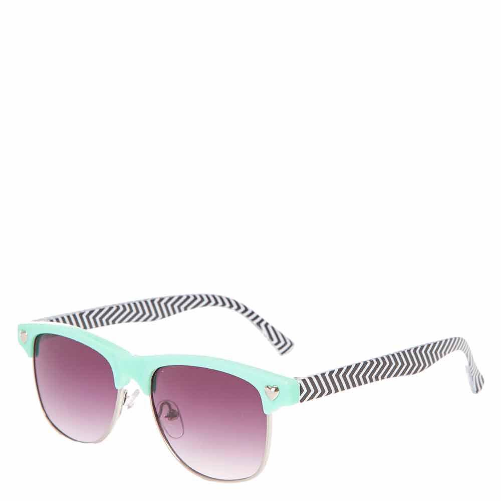 Kids Mint and Chevron Striped Sunglasses