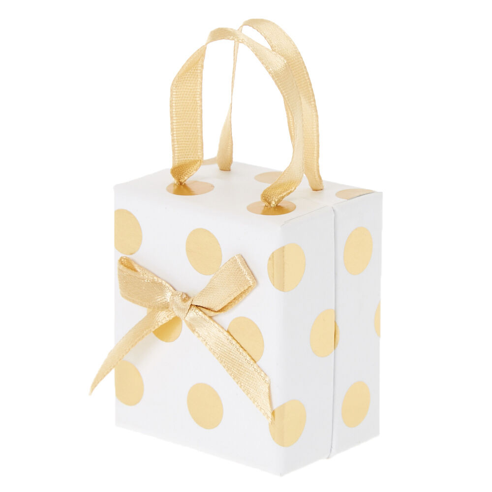 White and Gold Polka Dot Gift Box