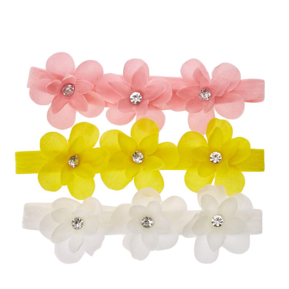 Kids Pink, Yellow & White Pretty Flower Headwraps