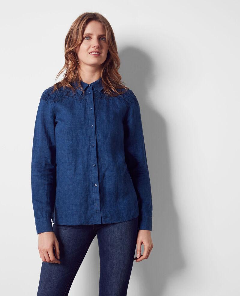 leinen bluse mit stickerei indigo chiquita comptoir des cotonniers. Black Bedroom Furniture Sets. Home Design Ideas