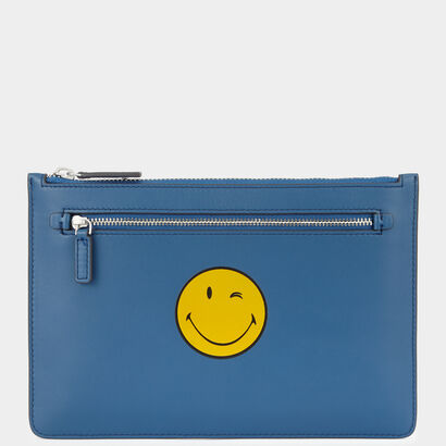 Smiley Double-Zip Pouch  in {variationvalue} from Anya Hindmarch
