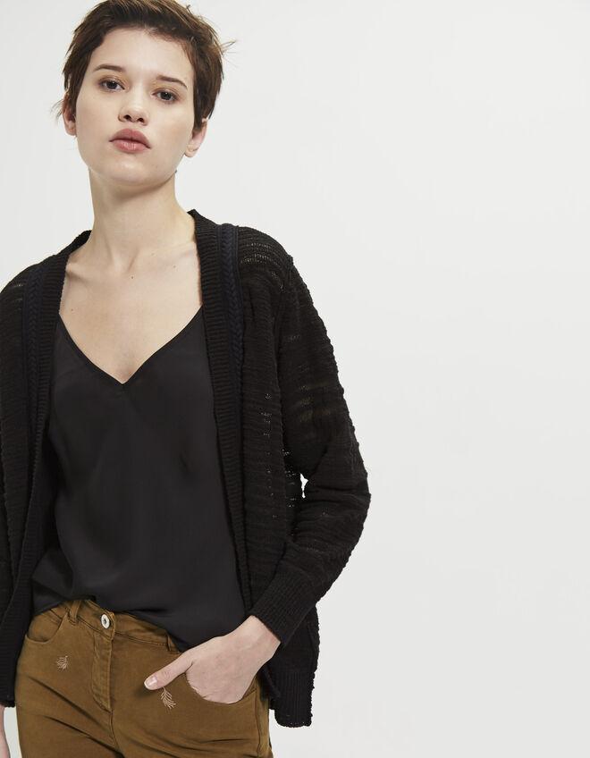 cardigan noir tresse femme ikks mode v tements printemps et. Black Bedroom Furniture Sets. Home Design Ideas