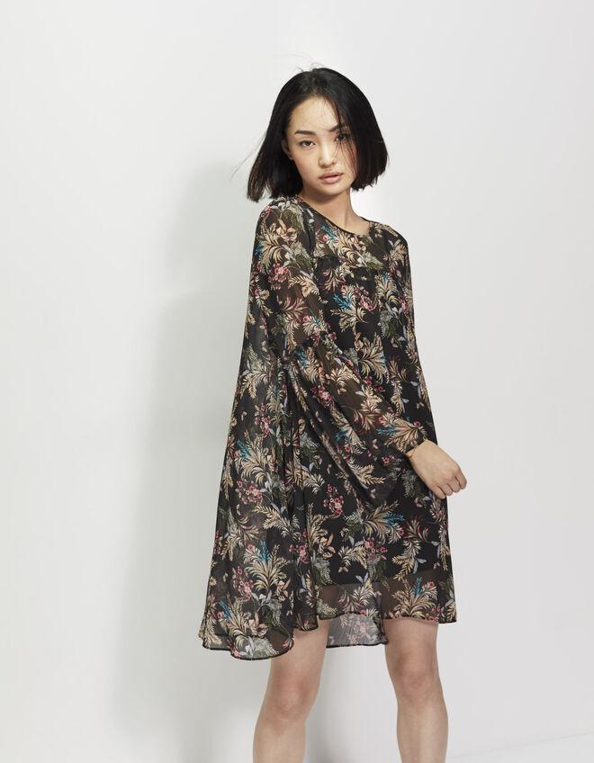 robe noire imprim floral ikks mode v tements printemps et. Black Bedroom Furniture Sets. Home Design Ideas