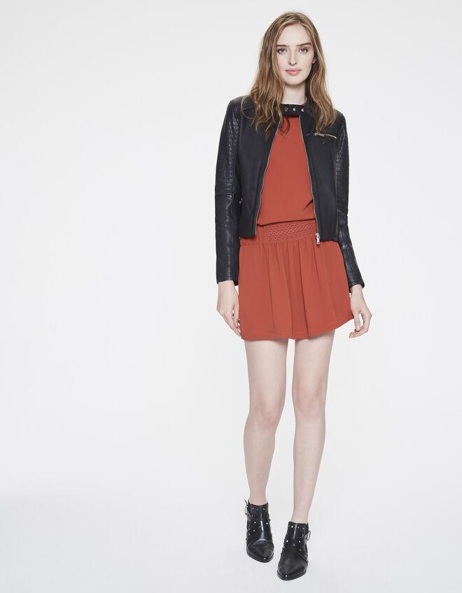 blouson cuir d 39 agneau femme ikks mode veste en cuir automne hiver. Black Bedroom Furniture Sets. Home Design Ideas