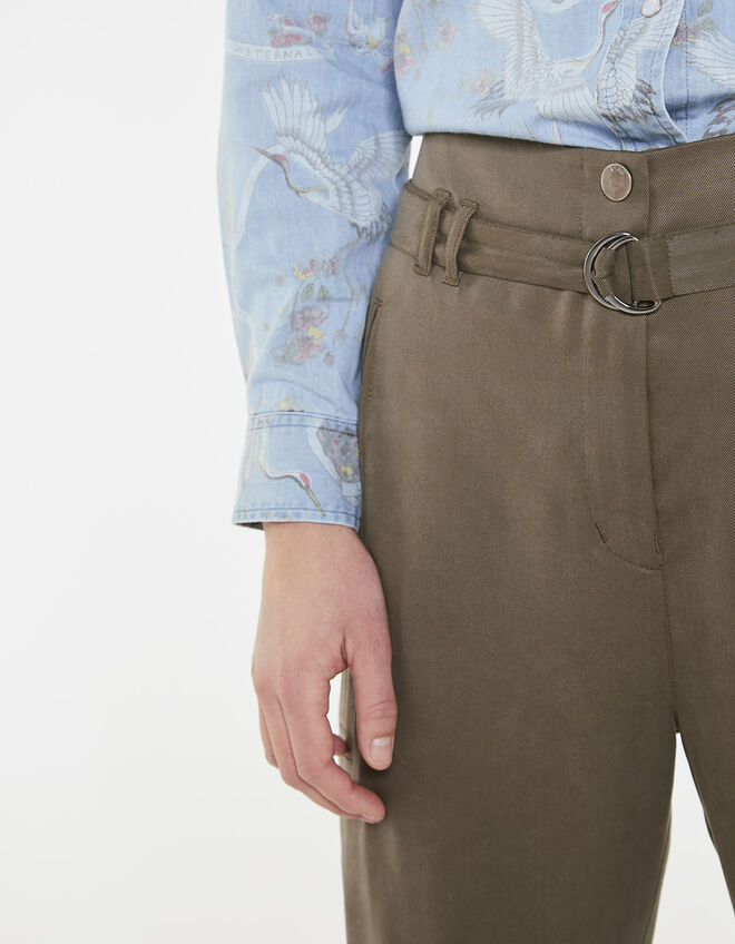 soldes pantalon kaki lyocell femme ikks soldes pantalon short t. Black Bedroom Furniture Sets. Home Design Ideas