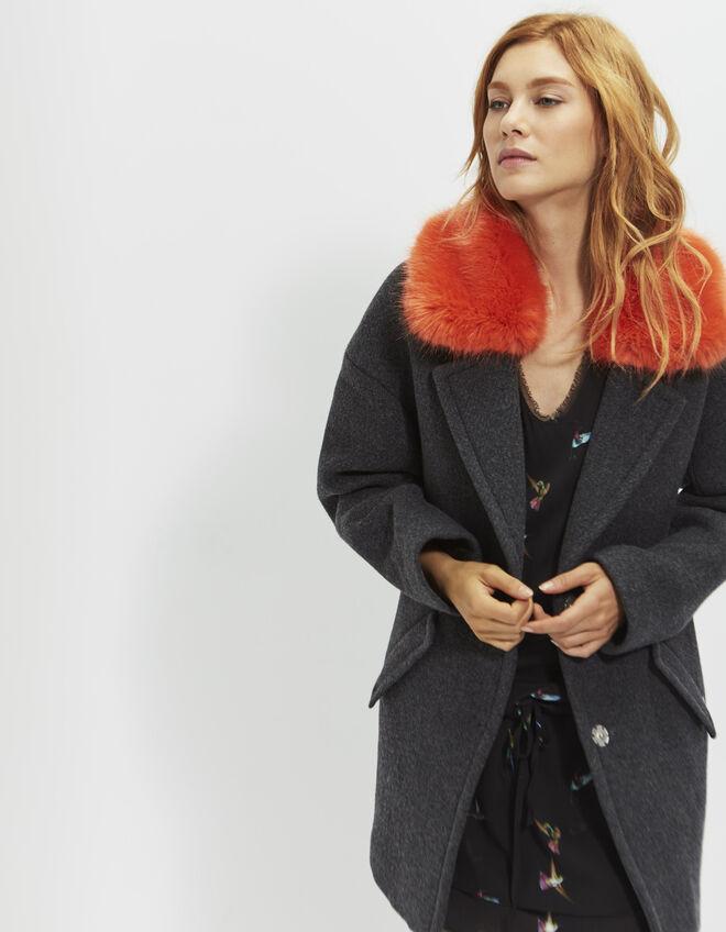 manteau col fantaisie femme ikks mode archive h16 automne hiver. Black Bedroom Furniture Sets. Home Design Ideas