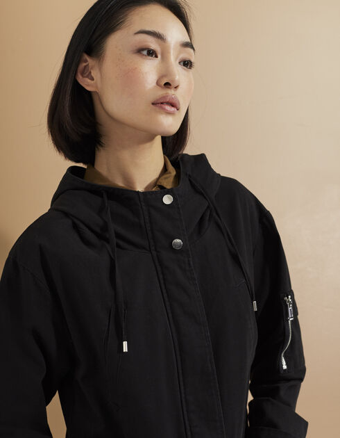parka noire femme ikks mode manteau parka cuir printemps et. Black Bedroom Furniture Sets. Home Design Ideas