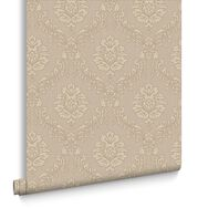 Jacquard Gold & Beige Behang, , large