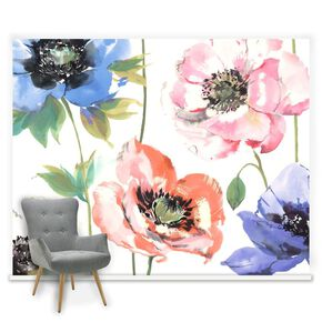 Couture Watercolour Poppies Mural, , large