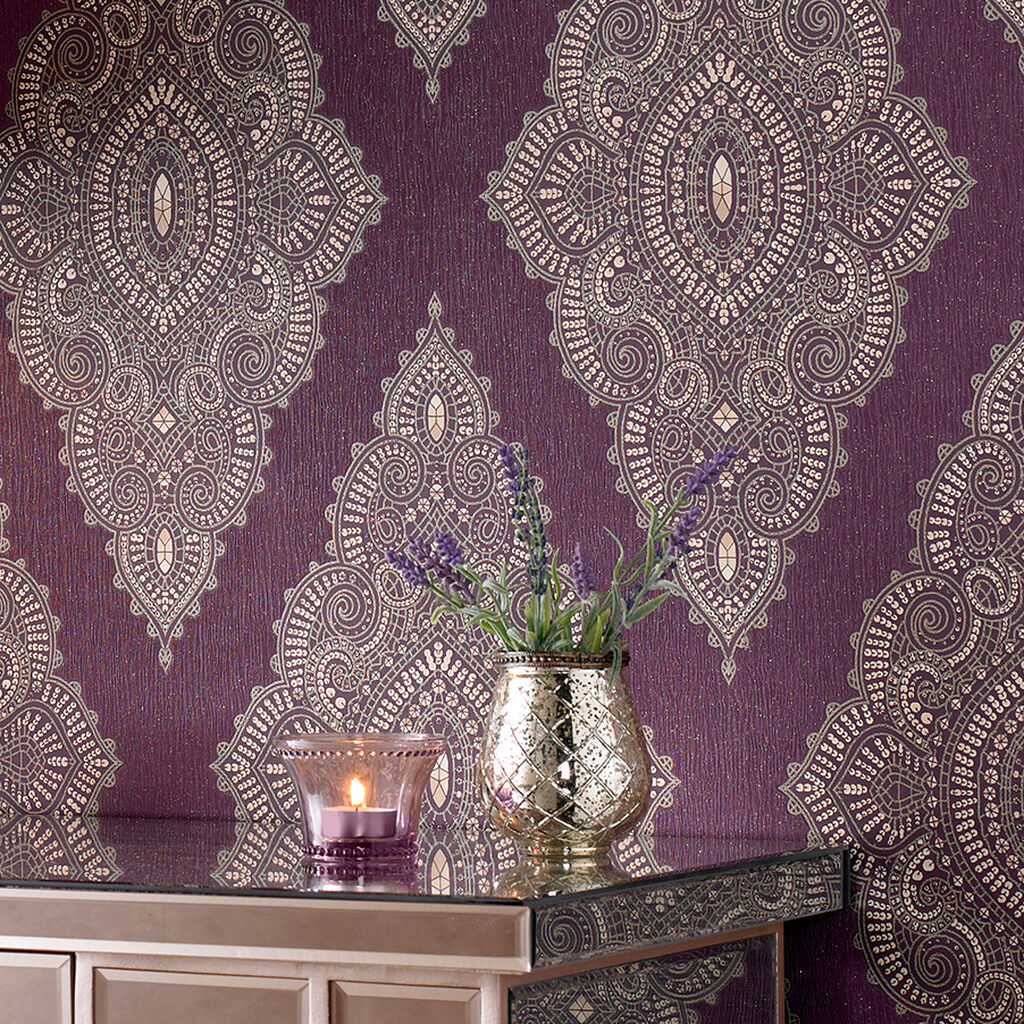jewel damson and gold wallpaper graham brown. Black Bedroom Furniture Sets. Home Design Ideas