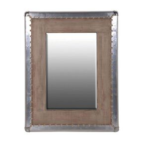 Industrial Metal Trimmed Wooden Mirror, , large