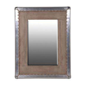 Industrial Metal Trimmed Wooden Mirror, , large
