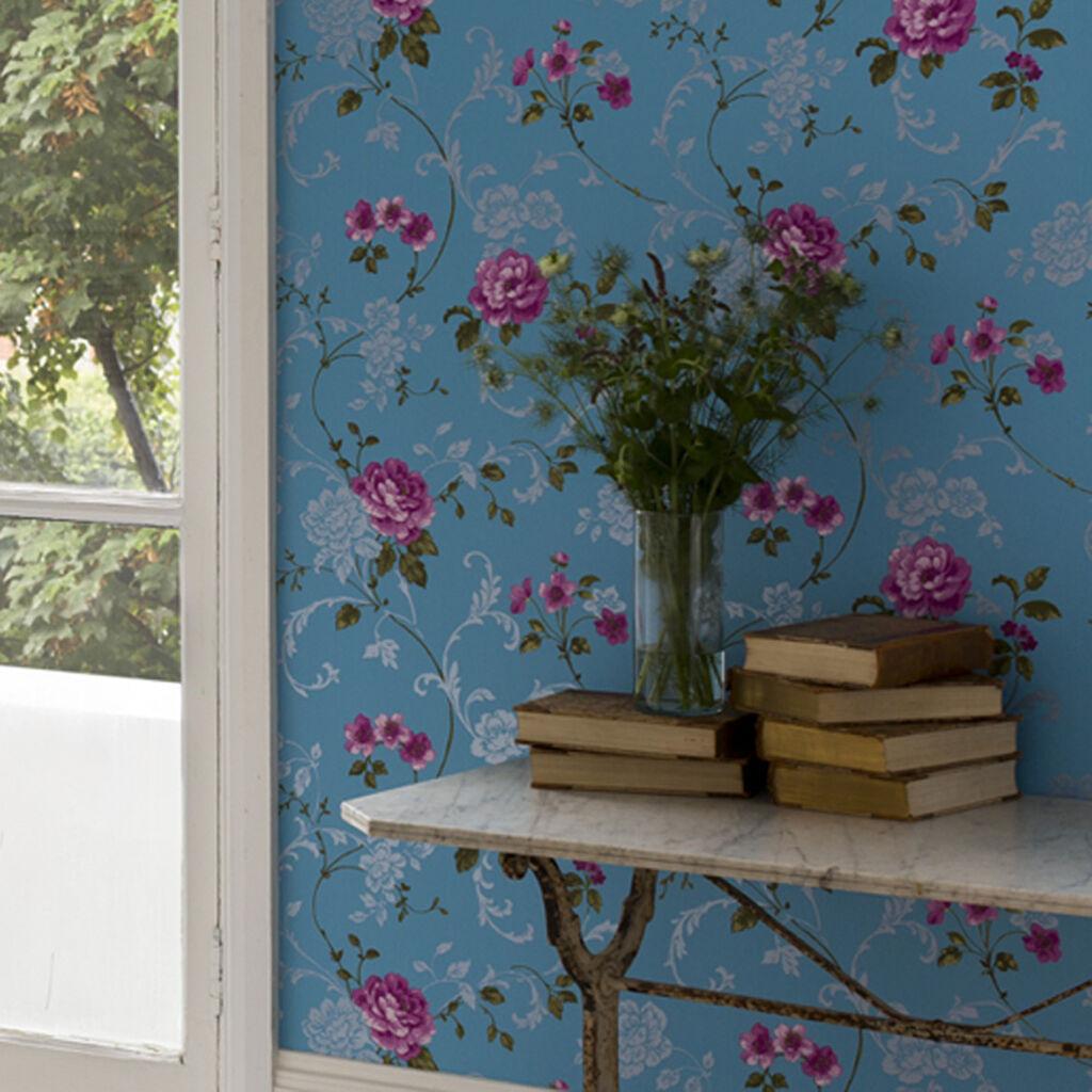 Northern Rose Blue And Pink Wallpaper Graham Amp Brown