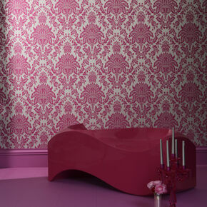 Large Elizabeth Pink And Silver Wallpaper