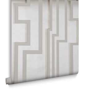White & Gold Groove Behang, , large