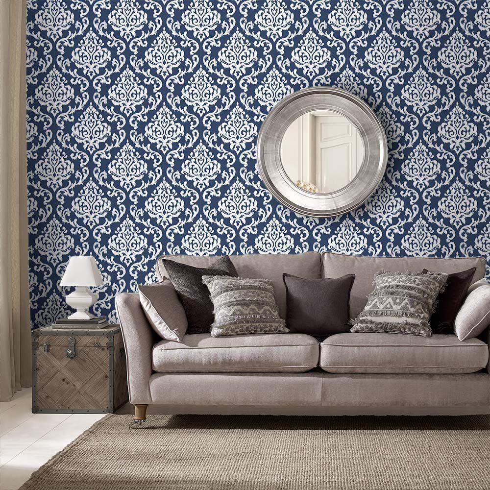 Good ... Large Indian Ink Damask Royal Blue Wallpaper, ... Part 5