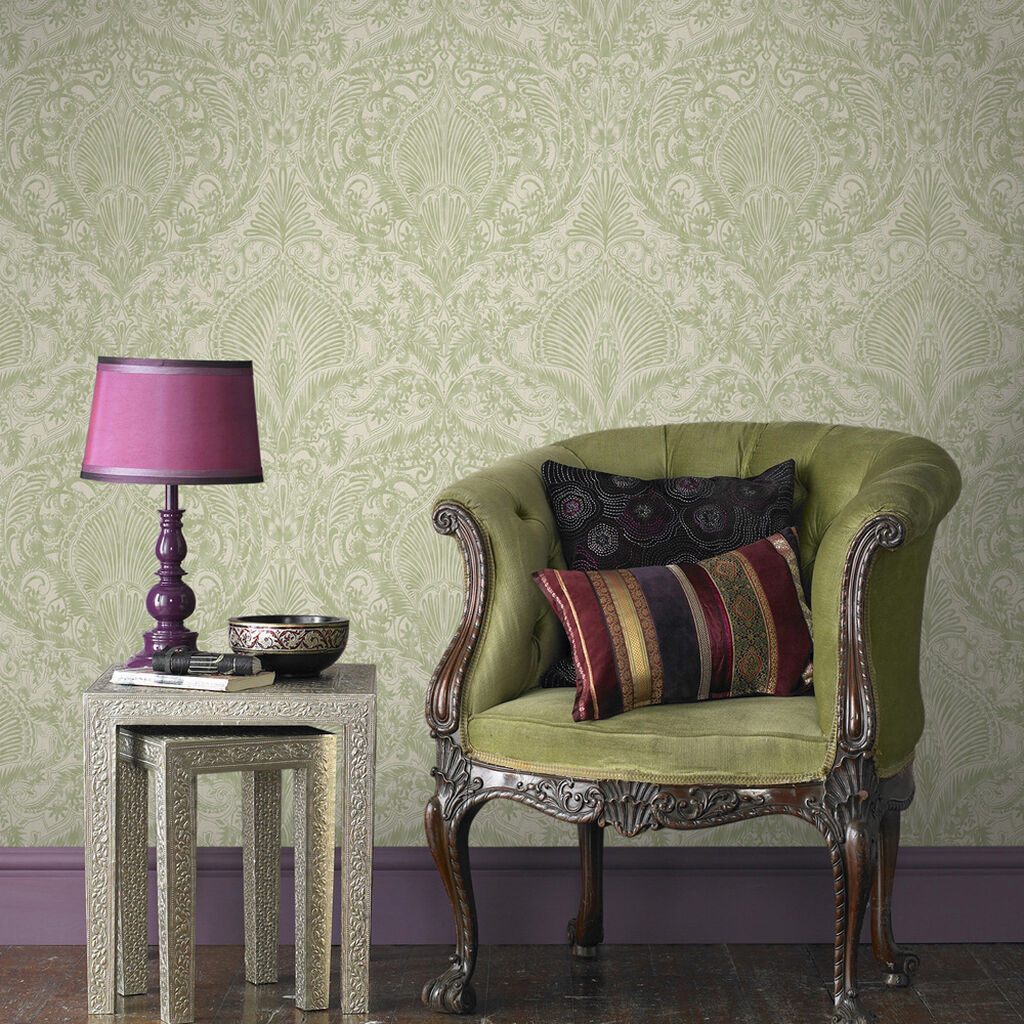 burlesque green and cream wallpaper graham brown. Black Bedroom Furniture Sets. Home Design Ideas