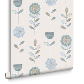 Sketch Floral Duck Egg Wallpaper, , large