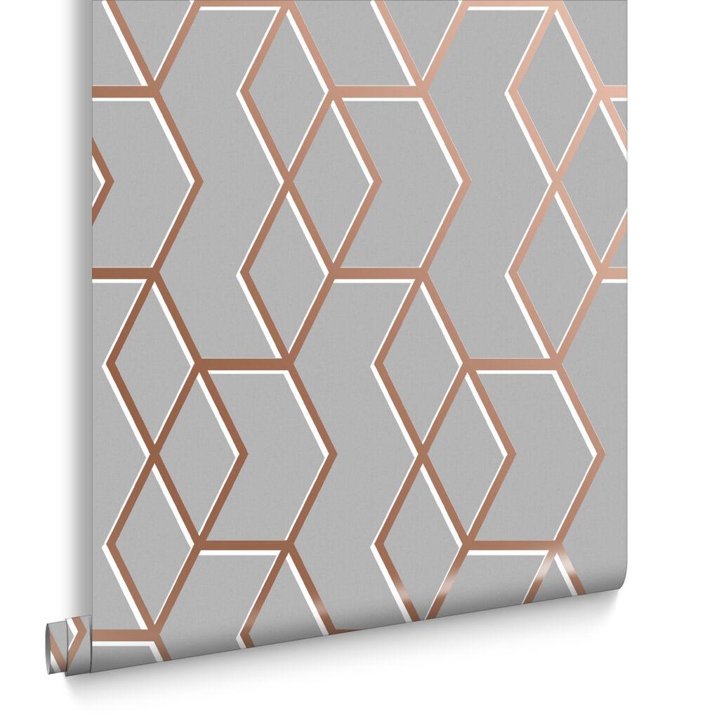 Archetype Grey Amp Rose Gold Wallpaper Grahambrownuk
