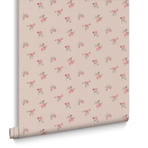 Rosebud Taupe and Raspberry Wallpaper, , large