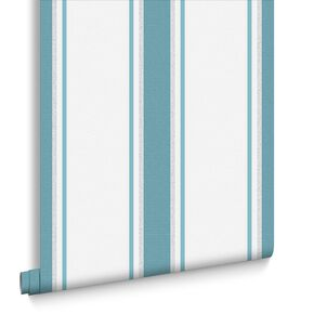 Orla Teal and Silver Wallpaper, , large