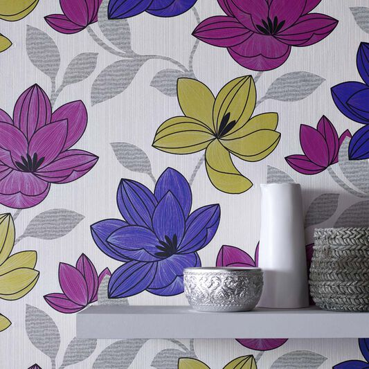 Superflora Pink Wallpaper, , large