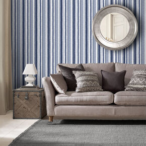 Indian Ink Stripe Royal Blue Wallpaper, , large