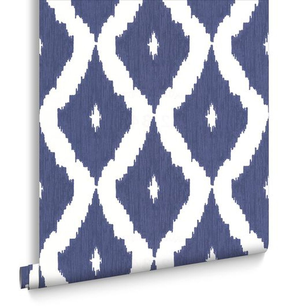 kelly 39 s ikat white and prussian blue wallpaper graham. Black Bedroom Furniture Sets. Home Design Ideas