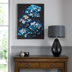 Blooms In Blue Printed Canvas, , large