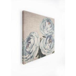 Trio de fleurs sur fond Bleu sarcelle-Toile imprimée Tableaux en tissus, , large