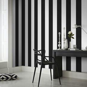 Rayure Black/White Wallpaper, , large