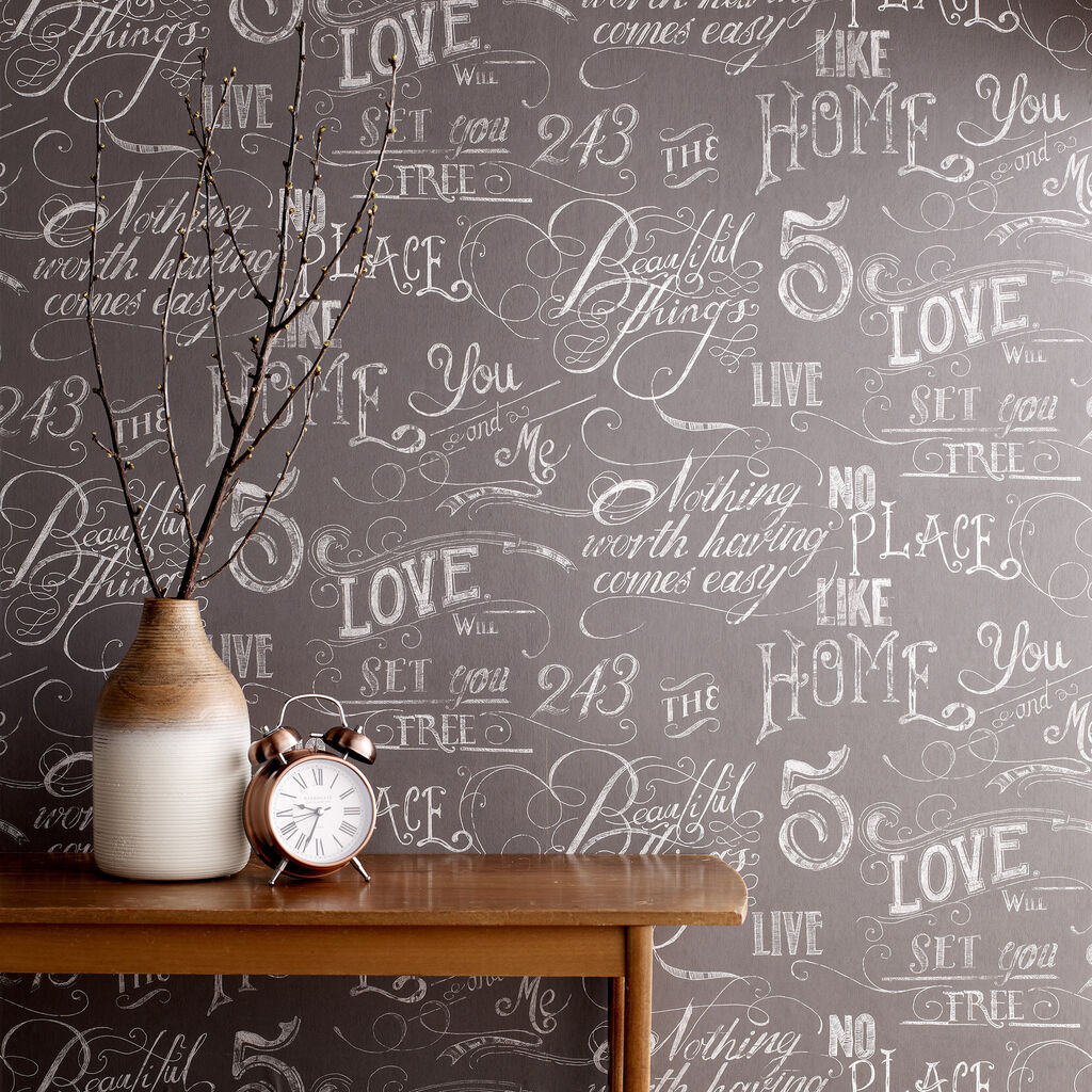 Chalk Board Grey Wallpaper Graham Brown
