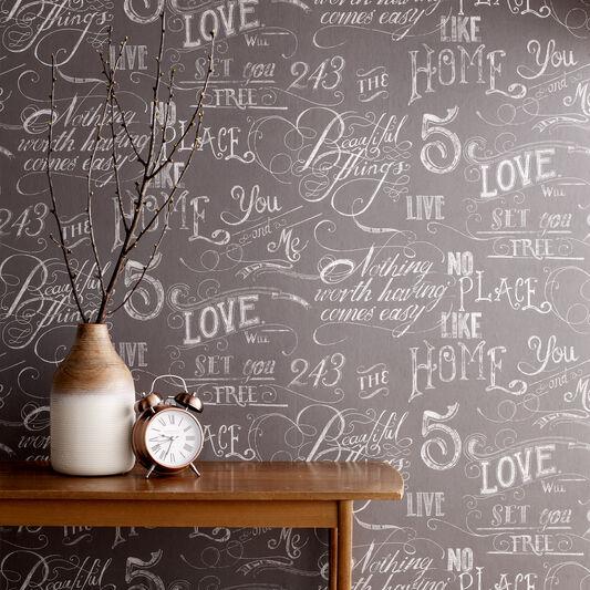 Chalk Board Grey Wallpaper, , large