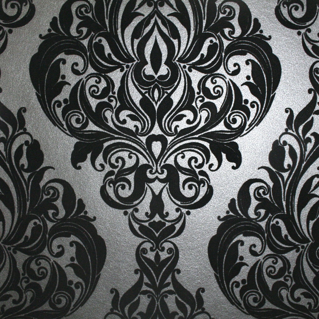 vintage noir flock wallpaper damask wallpaper graham. Black Bedroom Furniture Sets. Home Design Ideas