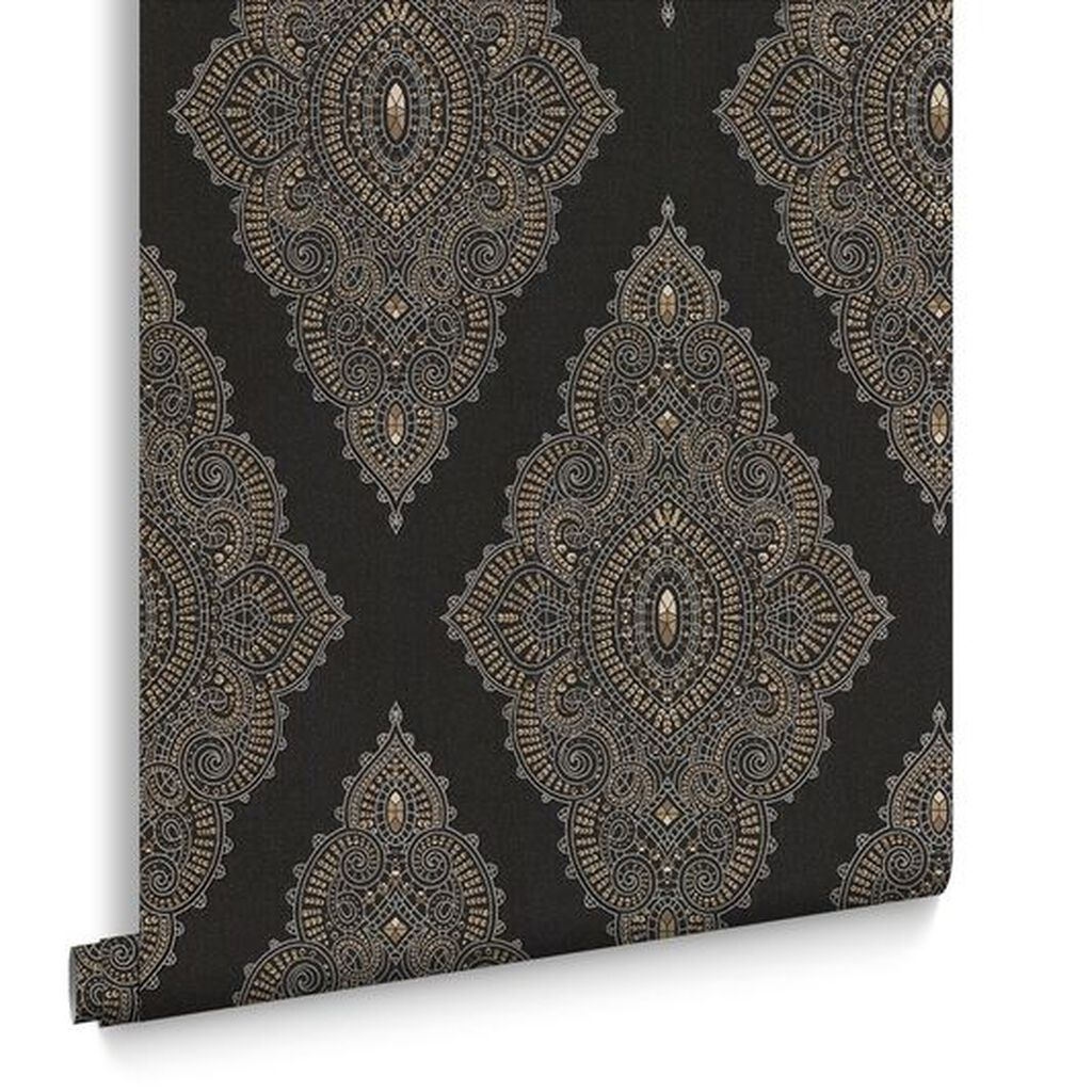 Jewel black and gold wallpaper graham brown for Black and gold living room wallpaper