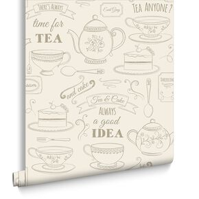 Afternoon Tea Cream Wallpaper, , large