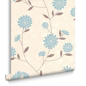 Botanic Teal Wallpaper, , large
