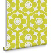 Funky Flora Lime and Ice Wallpaper, , large