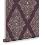 Jewel Damson and Gold Wallpaper, , large