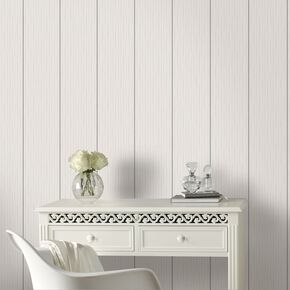 Stria Stripe White and Silver Wallpaper, , large