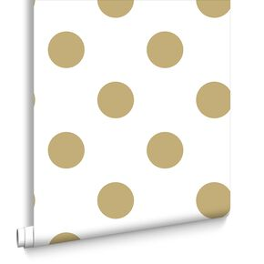 Dotty Gold Behang, , large