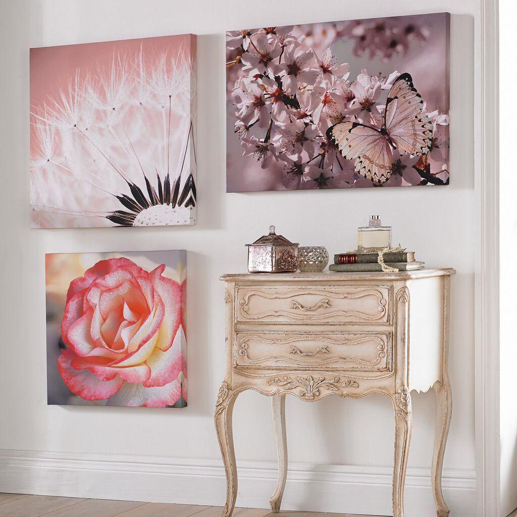 Delicate dandelion with glitter printed canvas grahambrownus for Glasbilder modern art