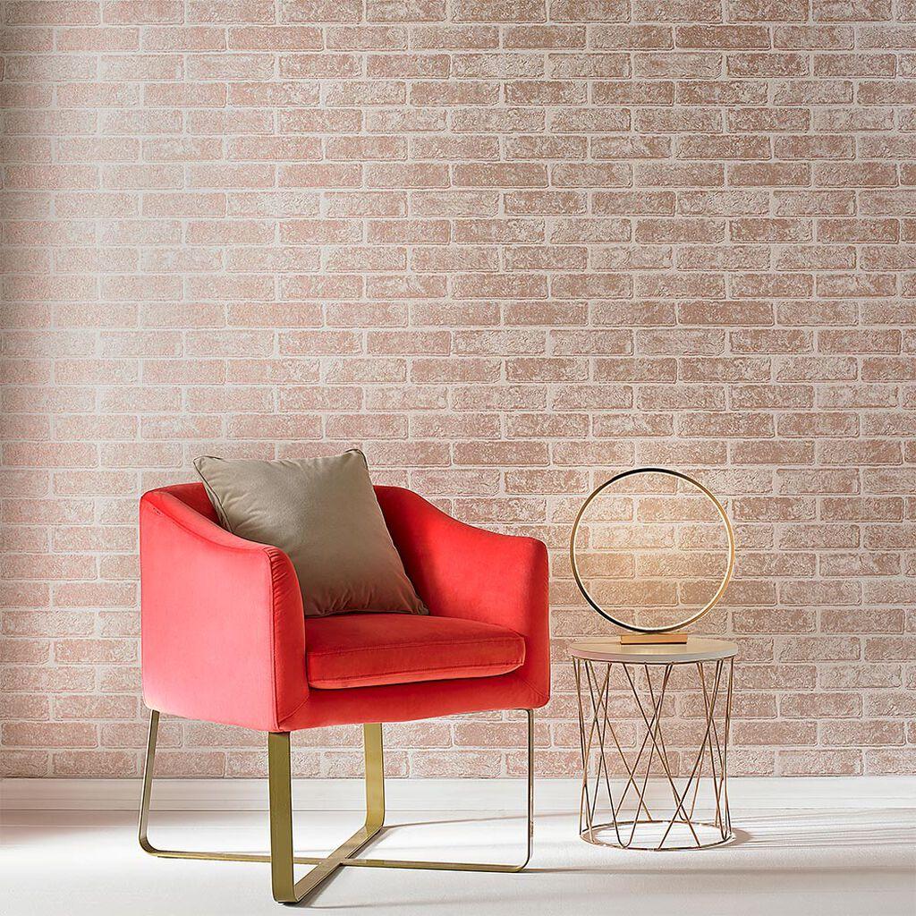 metallic rose gold brick wallpaper graham brown. Black Bedroom Furniture Sets. Home Design Ideas