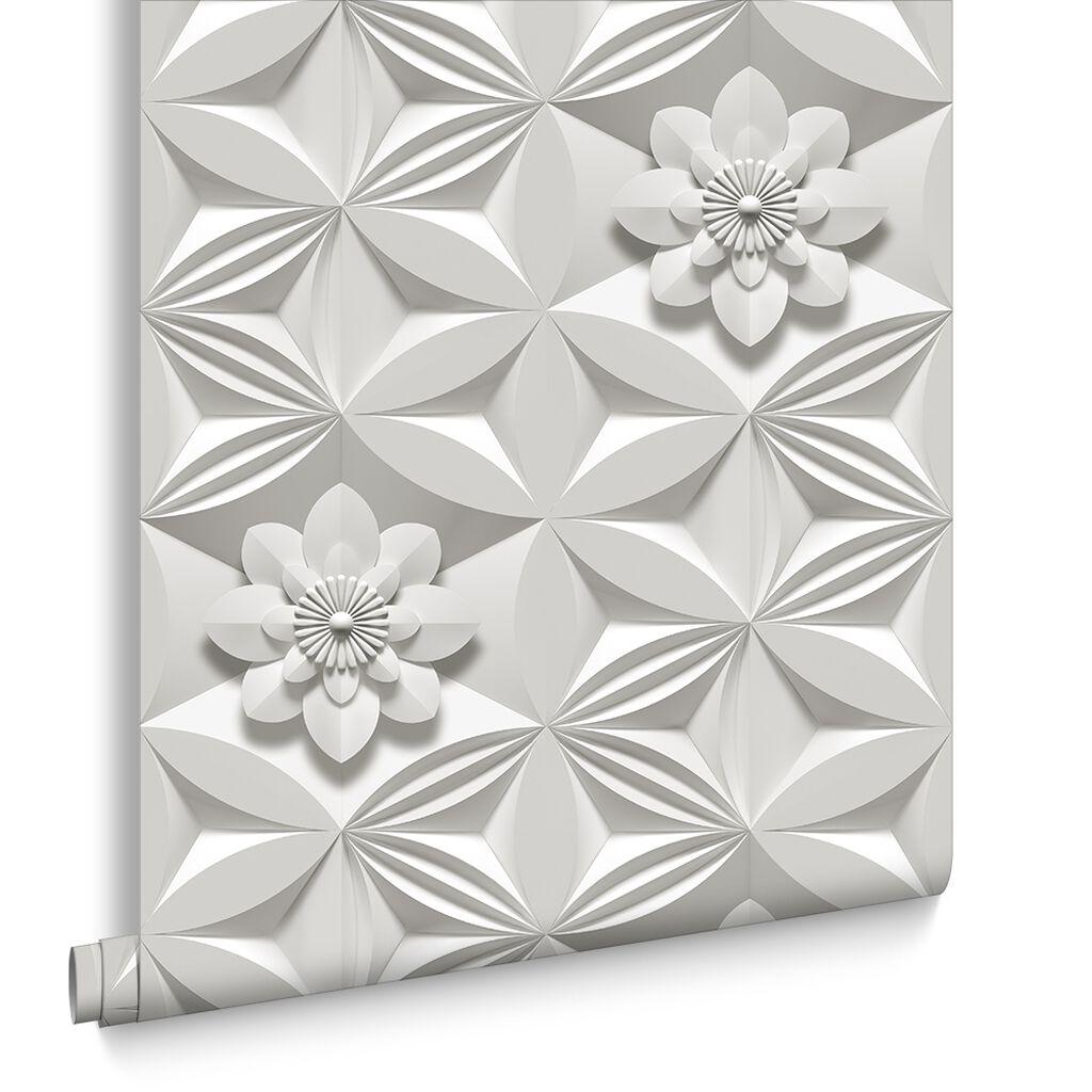 Wanders blue wanders forest flocked wallpaper damask wallpaper - Wall Flower Limestone Wallpaper