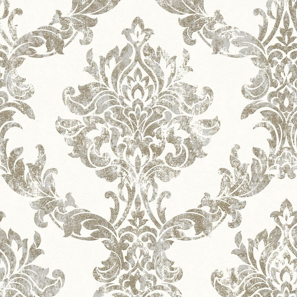 opal damask white and gold wallpaper