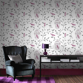 Large Birds And Cages Hot Pink And Charcoal Wallpaper